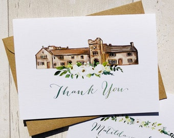 Thank You Cards | Handmade Blank Cards & Envelopes | Floral Ivory Roses Wedding Thanks Cards | Personalised Venue Painting