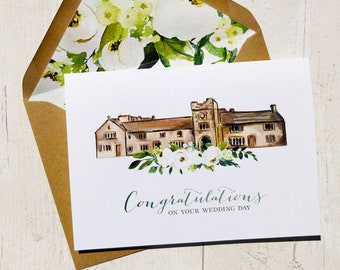 Congratulations card, Wedding Guest card, Watercolour card, Rustic wedding Wedding, Wedding day card, Watercolour buildings, personalised