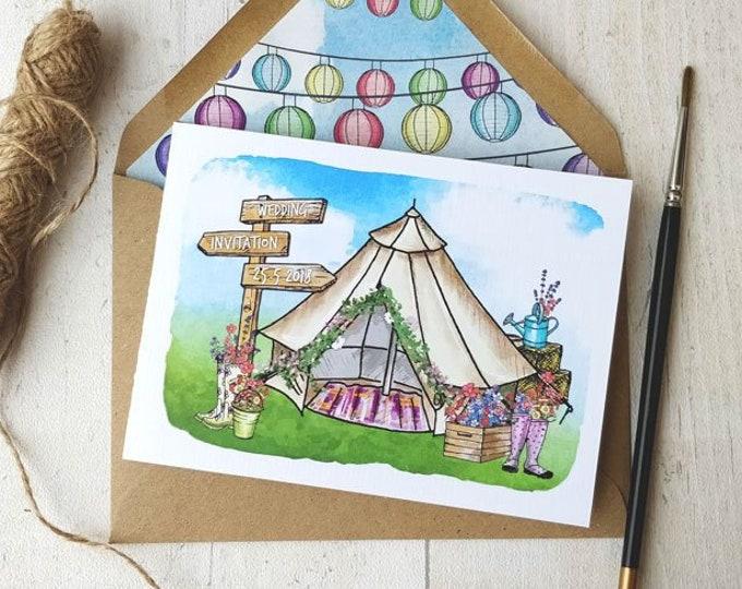 Folded Wedding Invitation   Woodland Festival Tipi with wedding map and envelopes.