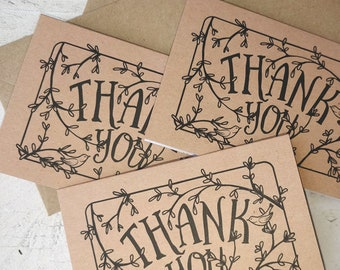 Mini Thank You Cards | Handmade Blank Cards & Envelopes | Hand drawn Secret Garden with Birds