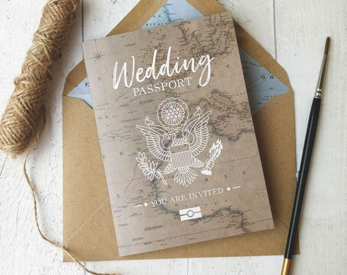 Featured listing image: Wedding Invitation | USA | UK Travel Passport | Fully Personalised