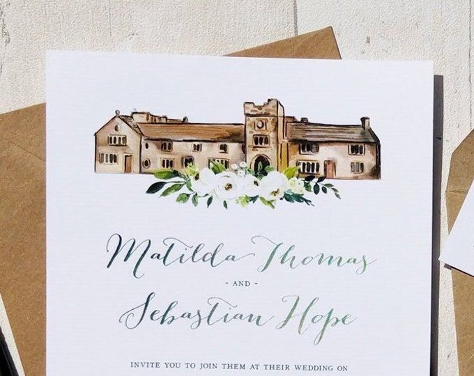 Wedding Venue Invitation | Ivory Flowers | Double Sided Cards & Envelopes | Fully Personalised | SAMPLE CARD