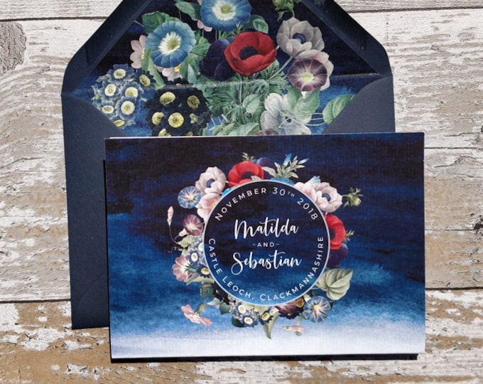 Folded Navy Wedding Invitation, Floral Concertina with cut-off RSVP cards and envelopes.