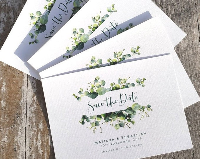 Save the Date | Green Eucalyptus | Fully Personalised | Cards & Envelopes