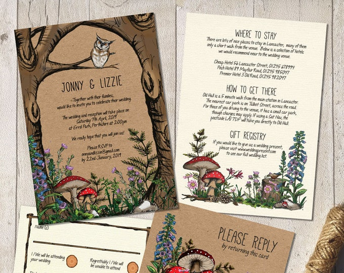 Printable Digital File | Templett Design | Wedding Invitation Set with RSVP card & Information card | Woodland Forest Garden | Hand Painted