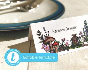 Printable Digital File | Templett Design | Place Cards | Woodland Forest Wedding