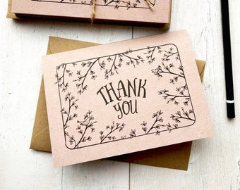 Thank You Cards | Handmade Blank Cards & Envelopes | Hand drawn Secret Garden with Birds
