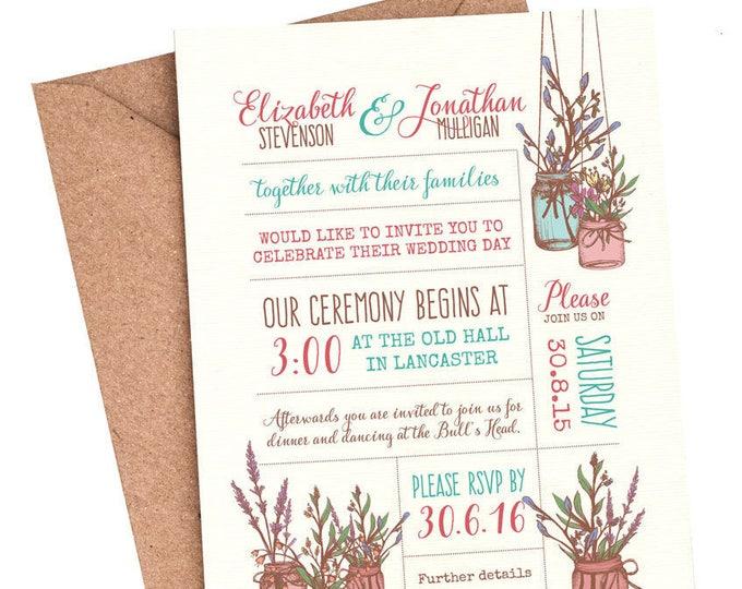 Rustic wedding invitations, shabby Chic wedding invitation, barn wedding invitation, country wedding, Wedding Festival invite, Boho wedding