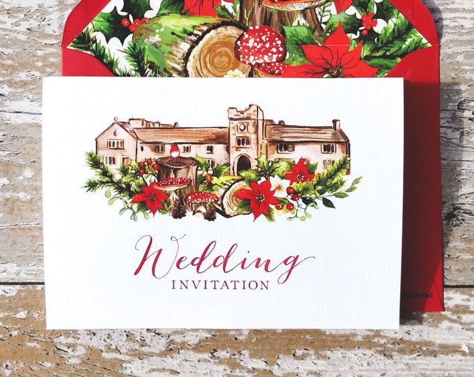Featured listing image: Wedding Venue Invitation | Christmas Woodland Concertina with wedding map and cut-off RSVP cards and envelopes.