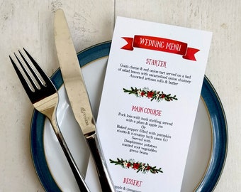 Printable Digital File | Templett Design | Wedding Menu Card | Christmas Winter | Rustic Floral