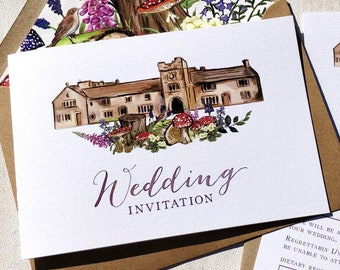 Wedding Venue Invitation | Woodland Flowers | Fully Personalised