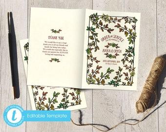 Printable Digital File | Templett Design | Order of Service Booklet | Wedding Program