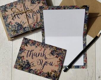 Thank You Cards | Handmade Blank Cards & Envelopes | Blue Floral Botanical Vintage