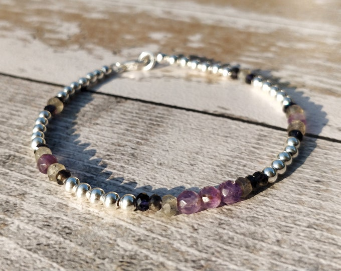 Sterling Silver Bracelet | Amethyst, Iolite and Laboradite gemstones and silver beads | Dainty Stacking Bracelet