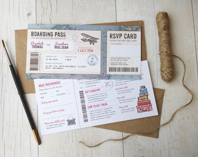 Wedding Invitation | Boarding Pass | Vintage Travel | Fully Personalised