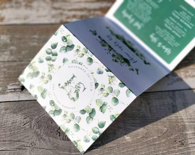 Folded Wedding Invitation, Green Eucalyptus Concertina with wedding map and cut-off RSVP cards and envelopes.