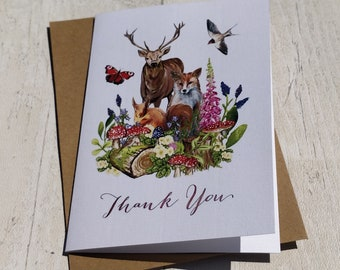 Thank You Cards | Handmade Blank Cards & Envelopes | Woodland Forest Animals