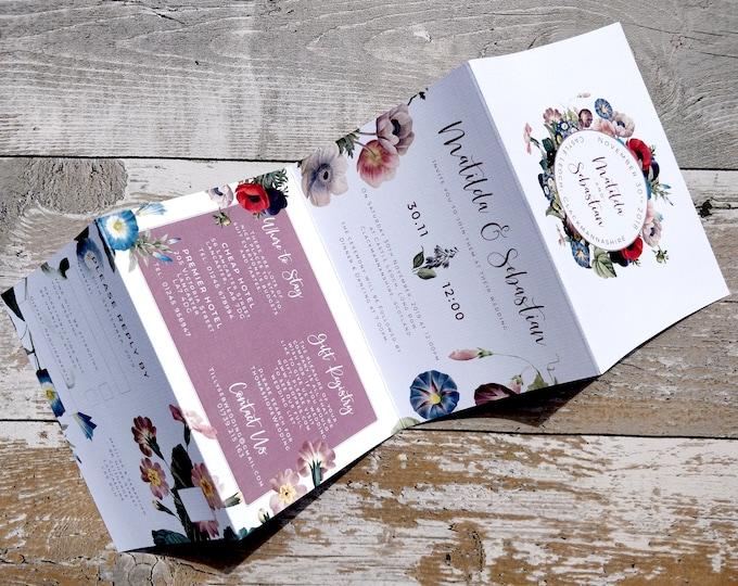 Folded Wedding Invitation | Lilac Botanical | Cards & Envelopes | Fully Personalised