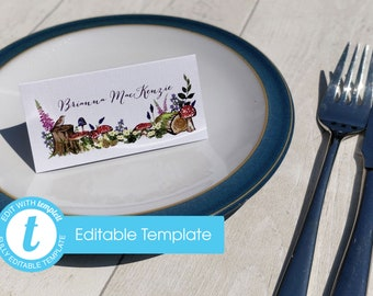 Printable Digital File | Templett Design | Place Cards | Woodland Forest Wedding