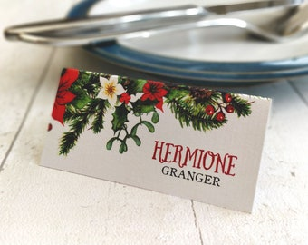 Place Card Settings | Christmas Winter Wedding | Printed Guest Names | Watercolour Forest Design