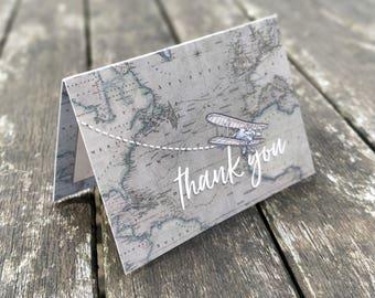 Mini Thank You Cards | Handmade Blank Cards & Envelopes | Vintage Travel Destination Wedding