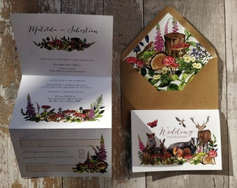 Folded Wedding Invitation, Woodland Animal Concertina with cut-off RSVP cards and envelopes