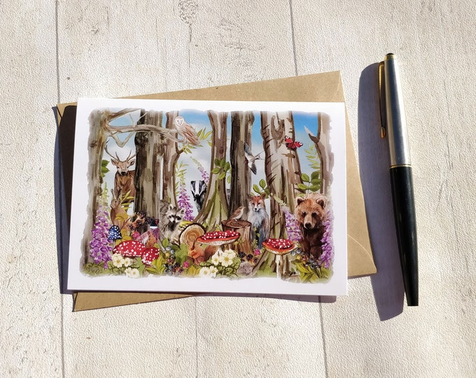Blank Note Cards Set | Hand Painted Folded Cards & Envelopes | Woodland Forest Animals and Plants