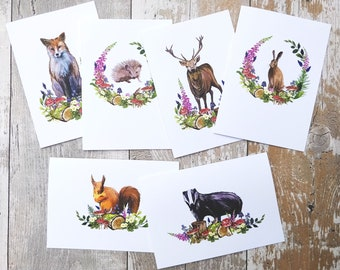 Blank Note Cards Set | Hand Painted Folded Cards & Envelopes | Woodland Forest Animals Mixed Pack