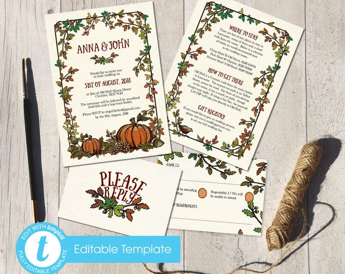 Printable Digital File | Templett Design | Wedding Invitation Set with RSVP card & Information card | Autumn Fall Woodland Forest | Painted