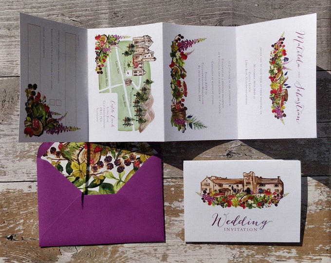 Featured listing image: Wedding Venue Invitation | Purple Berries Woodland Concertina with wedding map and cut-off RSVP cards and envelopes.