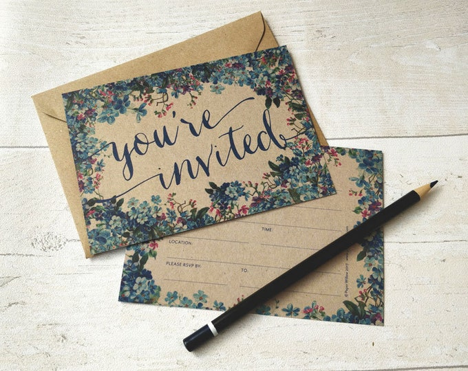 Blank Invitations | Blue Flowers | Cards and Envelopes with spaces for you to complete | Rustic Design