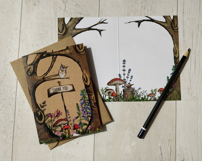 Thank You Cards | Handmade Blank Cards & Envelopes | Woodland Owl Tree Forest