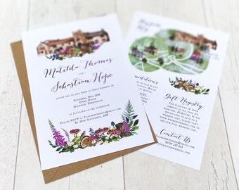 Wedding Venue Invitation   Woodland Flowers   Fully Personalised