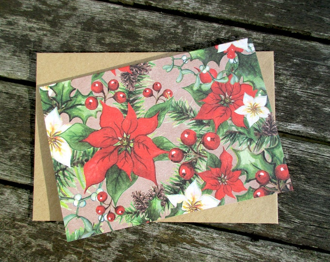 Blank Note Cards Set | Hand Painted Folded Cards & Envelopes | Winter Christmas Flowers