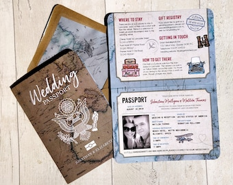 Wedding Invitation | Travel Passport | Fully Personalised | Vintage Travel | Folded Passport