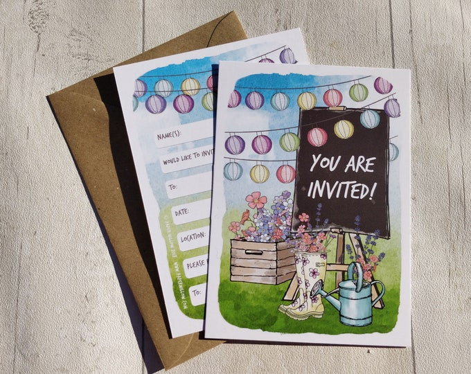 Blank Invitations | Wedding Festival | Cards and Envelopes with spaces for you to complete | Bunting and Lanterns