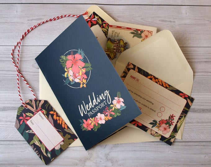 Wedding Invitation | Tropical Travel Passport | Fully Personalised