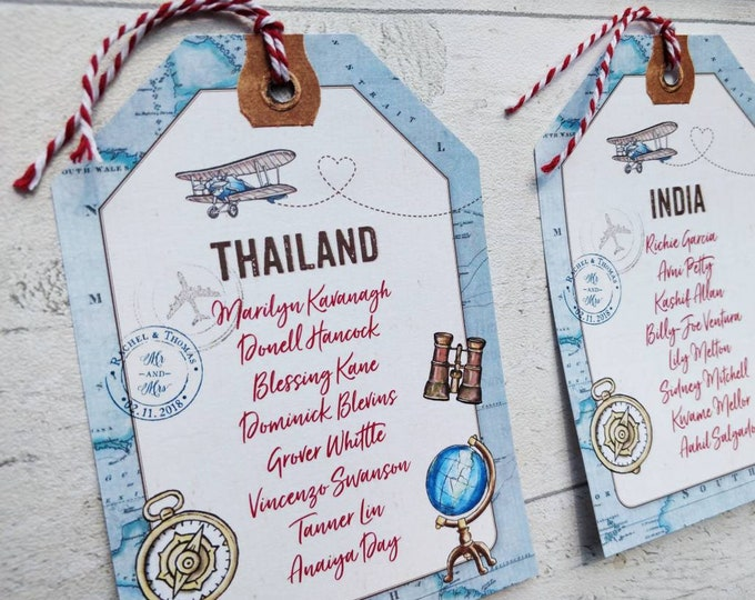 Table Plan Cards | Vintage Travel | Luggage Tags and String | Guest Names