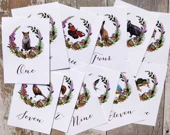 Table numbers or names | Woodland Animals | 14 animals to choose from | Suitable for a woodland wedding theme
