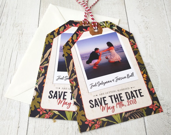 Save the Date card | Tropical Travel | Luggage Tag and Envelope