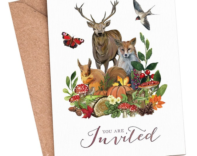 Blank Invitations | Autumn Fall | Woodland Animals | Cards and Envelopes with spaces for you to complete | Rustic Design