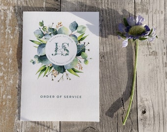 Order of service card | Green Eucalyptus | Folded Card |  Fully Personalised