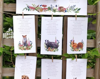 Table Plan Hanging Cards | Woodland Forest Animals | Watercolour Paintings