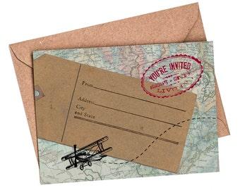 10 x Travel-themed blank invitations, destination-themed, travel invitation, destination wedding, travel wedding, bridal shower