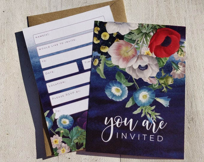 Blank Invitations | Blue Flowers | Cards and Envelopes with spaces for you to complete | Botanical