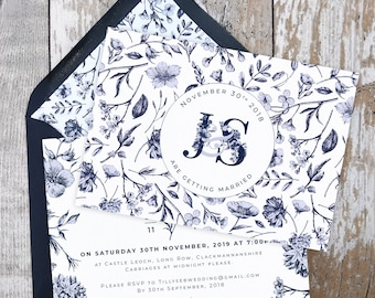 Flat Wedding Invitation | Navy Botanical | Double Sided Cards & Envelopes | Fully Personalised