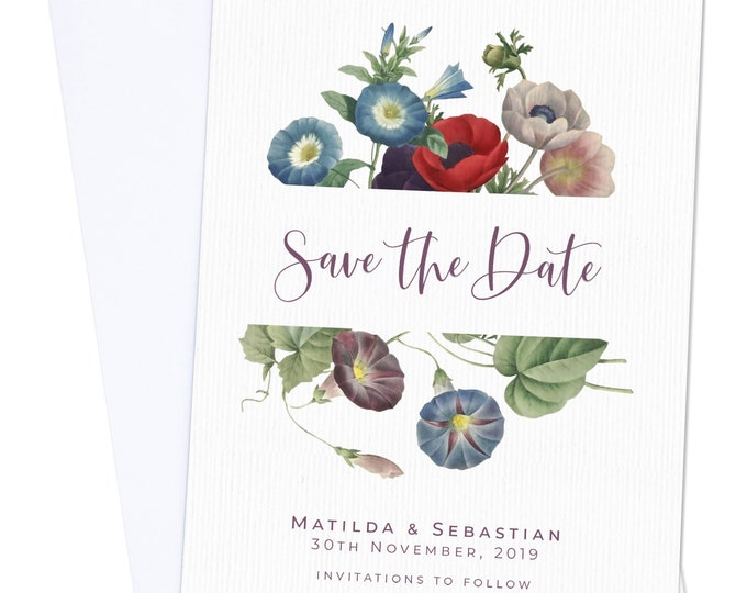 Save the Date | Navy Purple Botanical | Fully Personalised