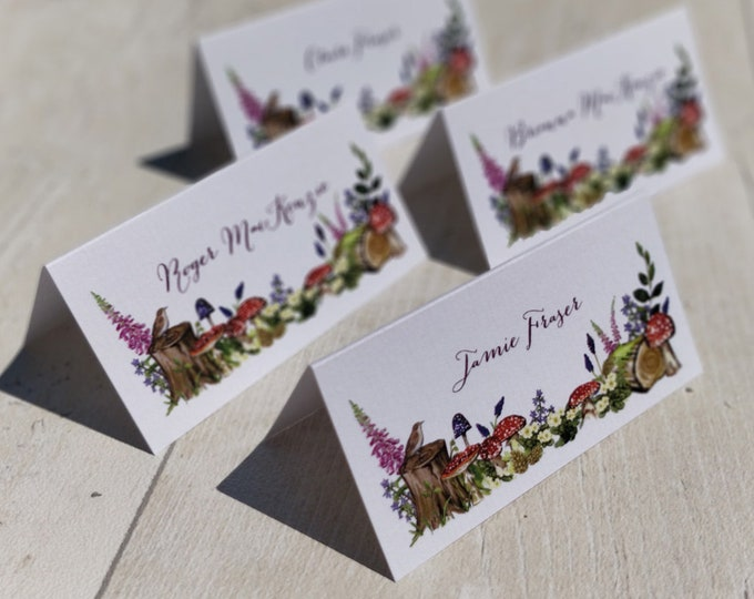 Place Card Settings | Woodland Wedding | Printed Guest Names | Watercolour Forest Design