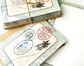 Thank You Cards   Handmade Blank Cards & Envelopes   Vintage Travel Destination Wedding