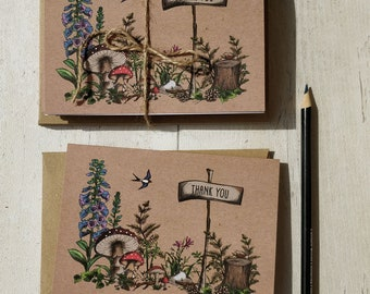 Thank You Cards | Handmade Blank Cards & EnvelopesWoodland Toadstool Forest